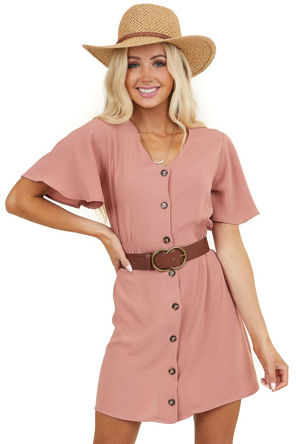 Terracotta Button Up Short Dress with Short Flounce Sleeves