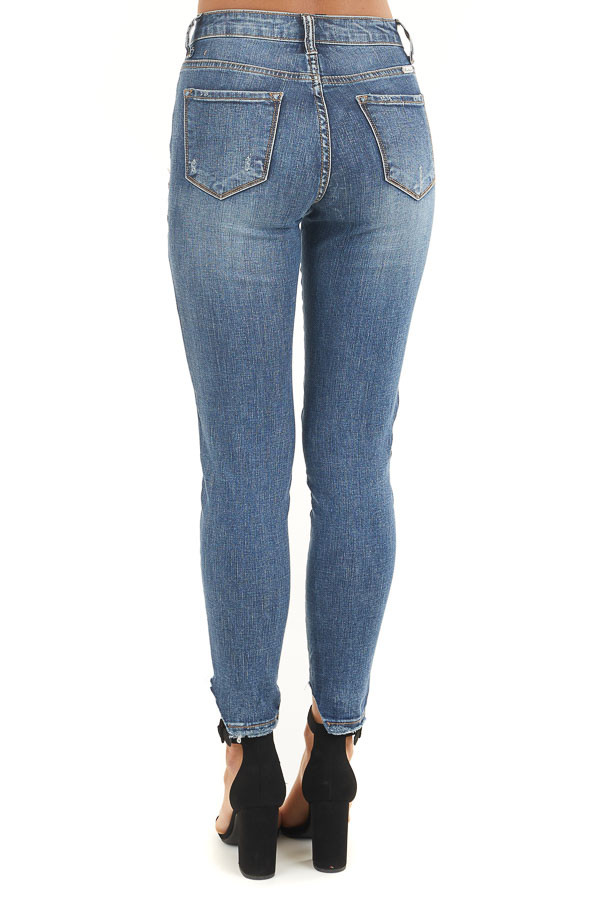Medium Wash High Rise Distressed Jeans with Rose Patches