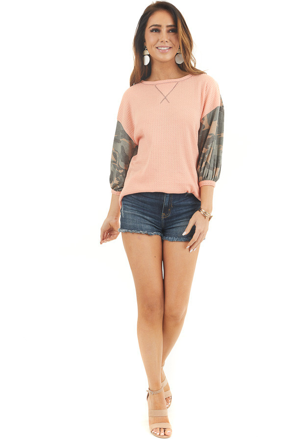Peach Waffle Knit Top with Camo Print 3/4 Puffy Sleeves front full body