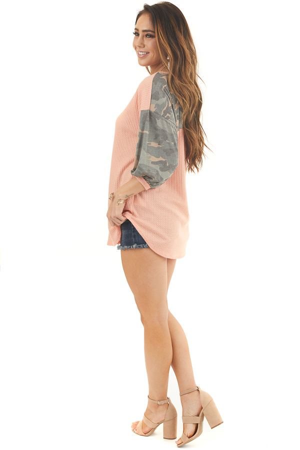 Peach Waffle Knit Top with Camo Print 3/4 Puffy Sleeves side full body
