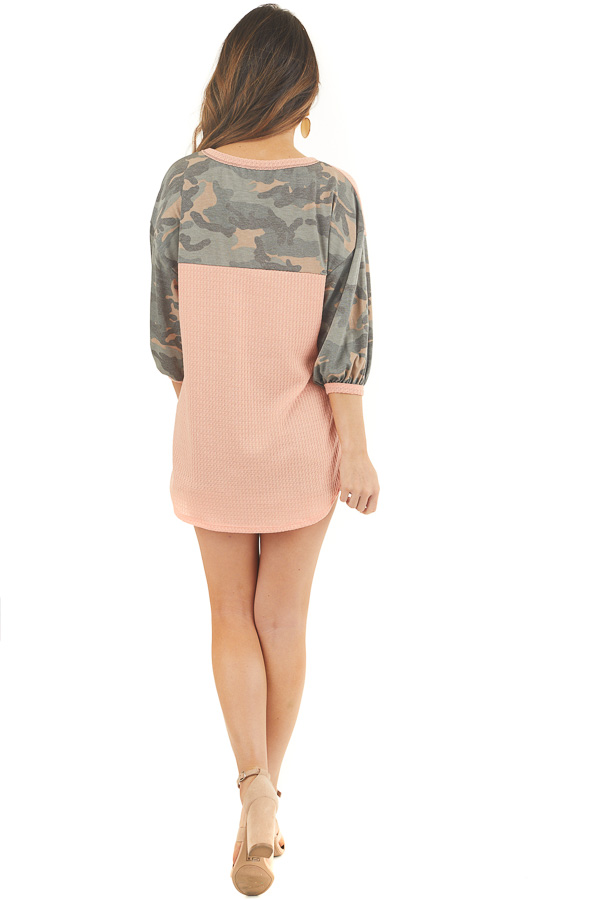 Peach Waffle Knit Top with Camo Print 3/4 Puffy Sleeves back full body