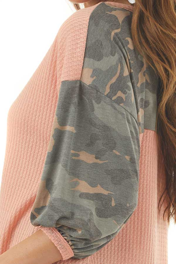 Peach Waffle Knit Top with Camo Print 3/4 Puffy Sleeves detail