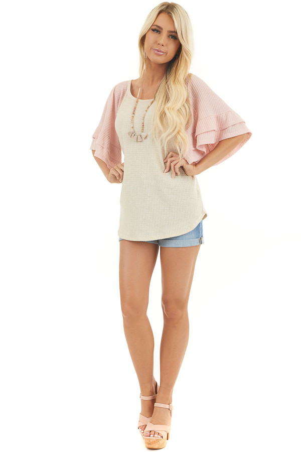 Beige and Dusty Blush Waffle Knit Top with Ruffle Sleeves front full body