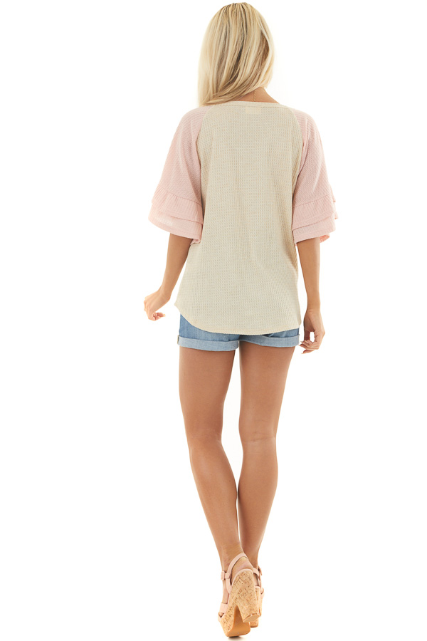 Beige and Dusty Blush Waffle Knit Top with Ruffle Sleeves back full body