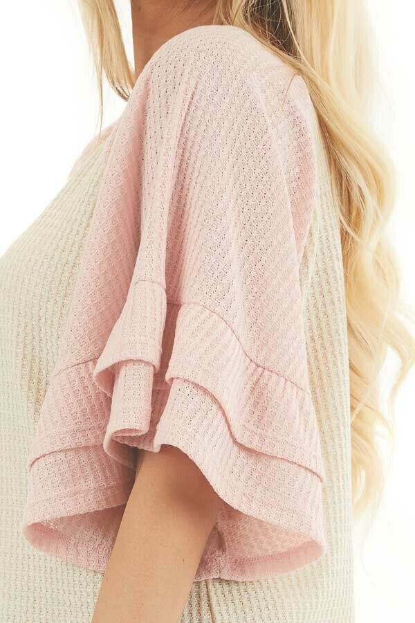 Beige and Dusty Blush Waffle Knit Top with Ruffle Sleeves detail