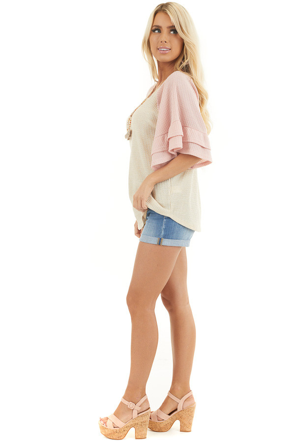 Beige and Dusty Blush Waffle Knit Top with Ruffle Sleeves side full body