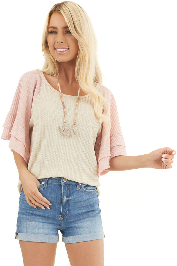 Beige and Dusty Blush Waffle Knit Top with Ruffle Sleeves front close up