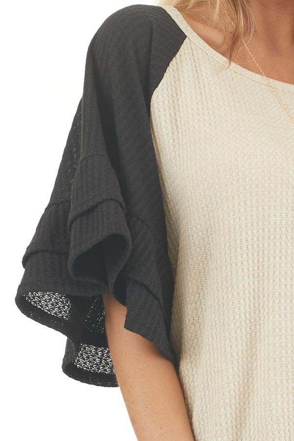 Beige and Black Waffle Knit Top with Ruffle Sleeves detail