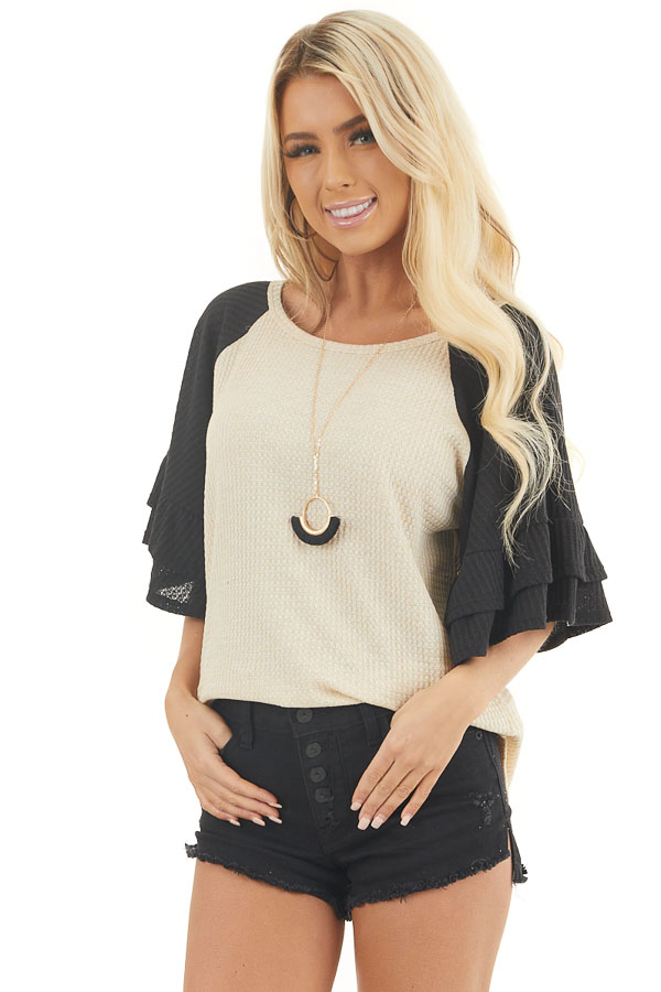 Beige and Black Waffle Knit Top with Ruffle Sleeves front close up