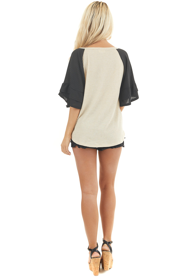 Beige and Black Waffle Knit Top with Ruffle Sleeves back full body
