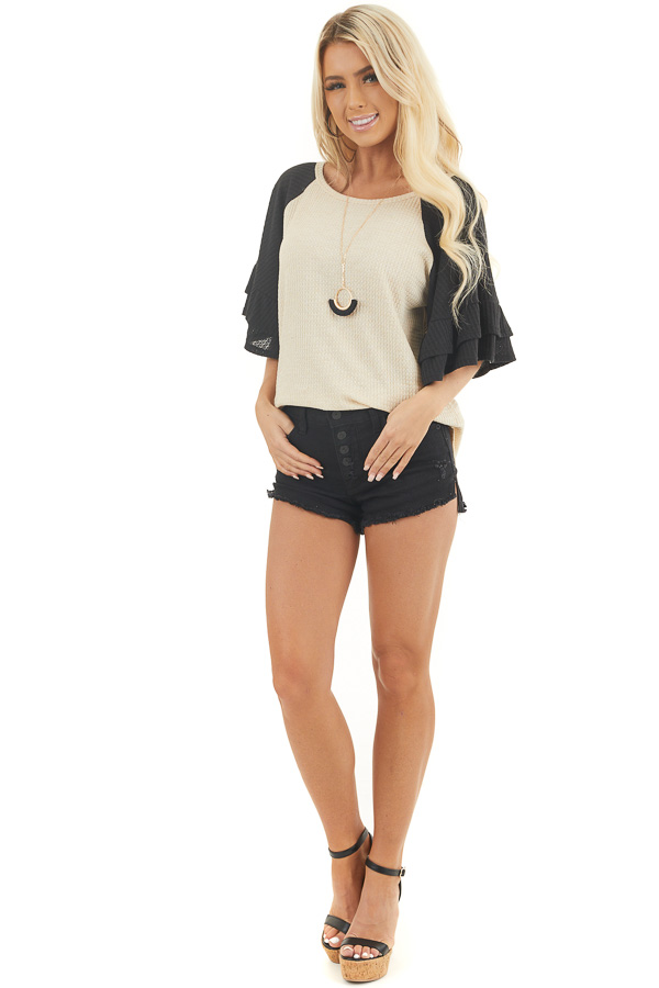 Beige and Black Waffle Knit Top with Ruffle Sleeves front full body