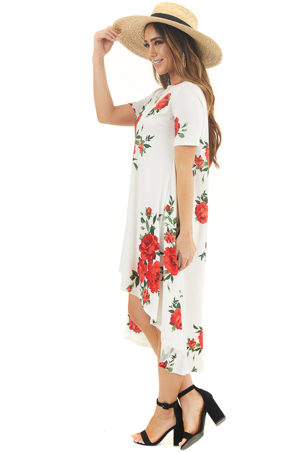 Ivory Floral High Low Tee Shirt Dress with Short Sleeves side full body