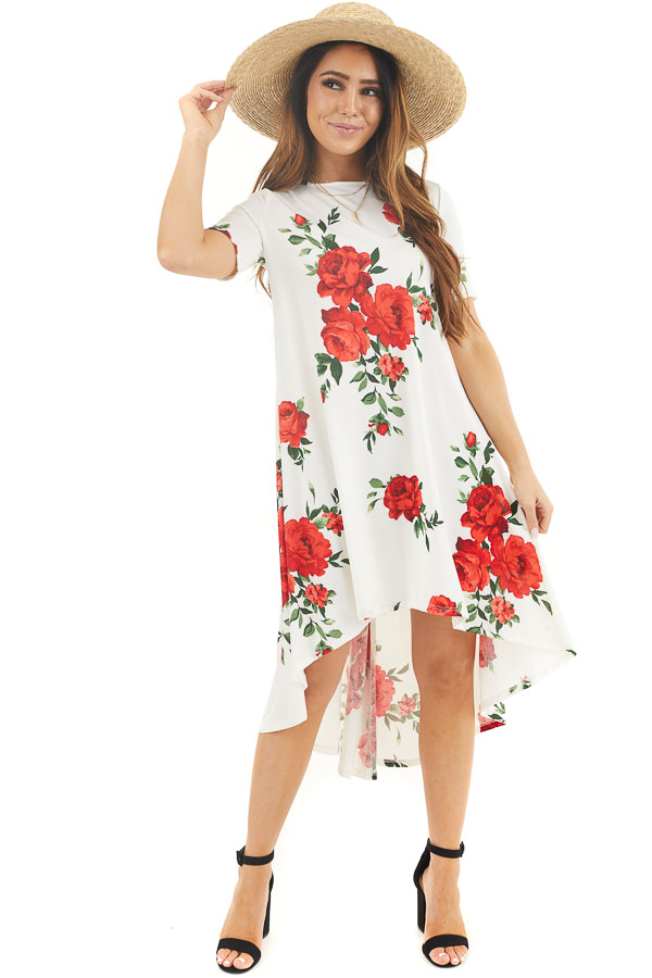 Ivory Floral High Low Tee Shirt Dress with Short Sleeves front full body