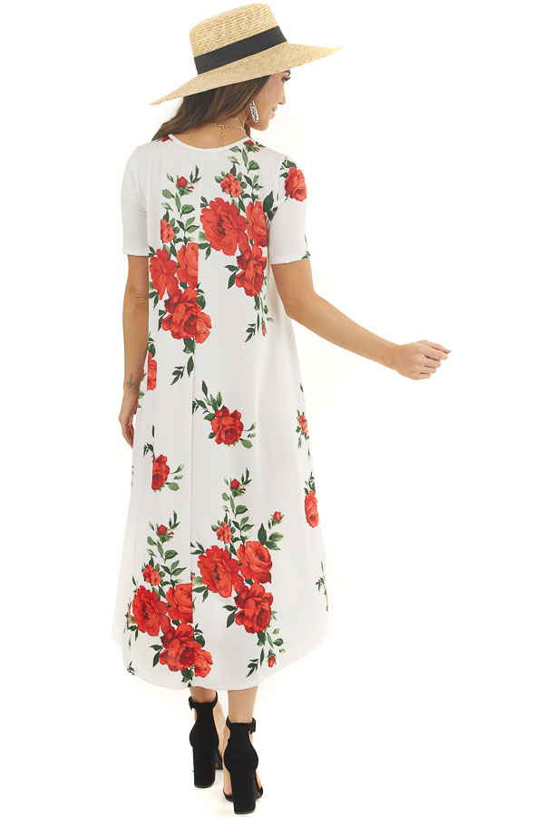 Ivory Floral High Low Tee Shirt Dress with Short Sleeves back full body