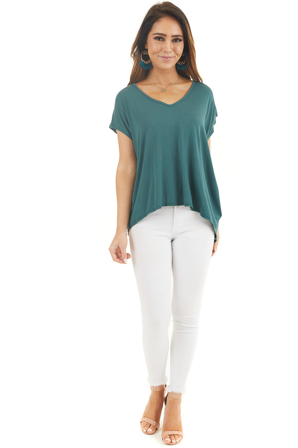 Pine Green Short Sleeve Knit Top with Open Criss Cross Back front full body