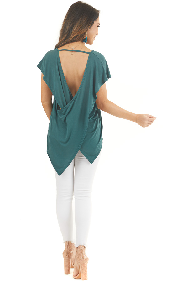 Pine Green Short Sleeve Knit Top with Open Criss Cross Back back full body