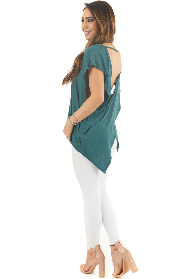 Pine Green Short Sleeve Knit Top with Open Criss Cross Back side full body