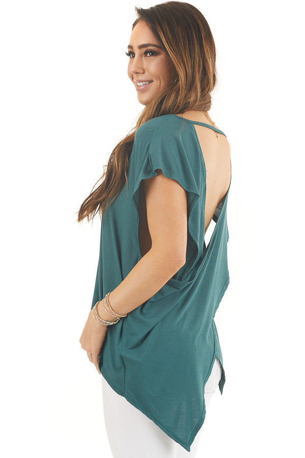 Pine Green Short Sleeve Knit Top with Open Criss Cross Back back side close up