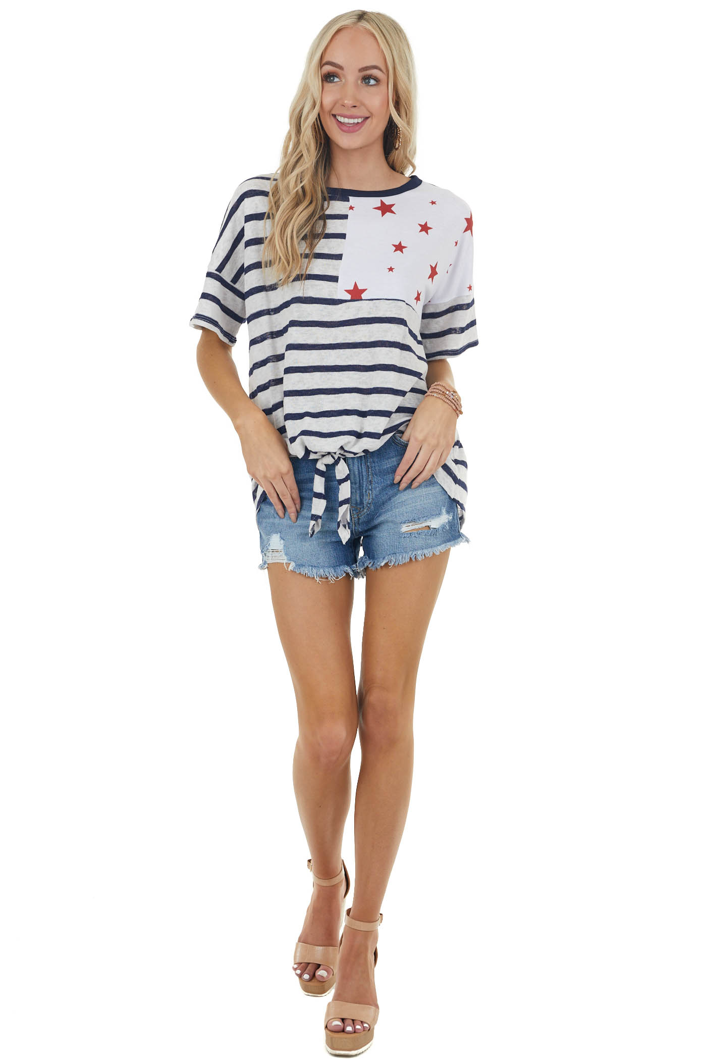 Navy and White Striped Top with Contrasting Red Star Detail