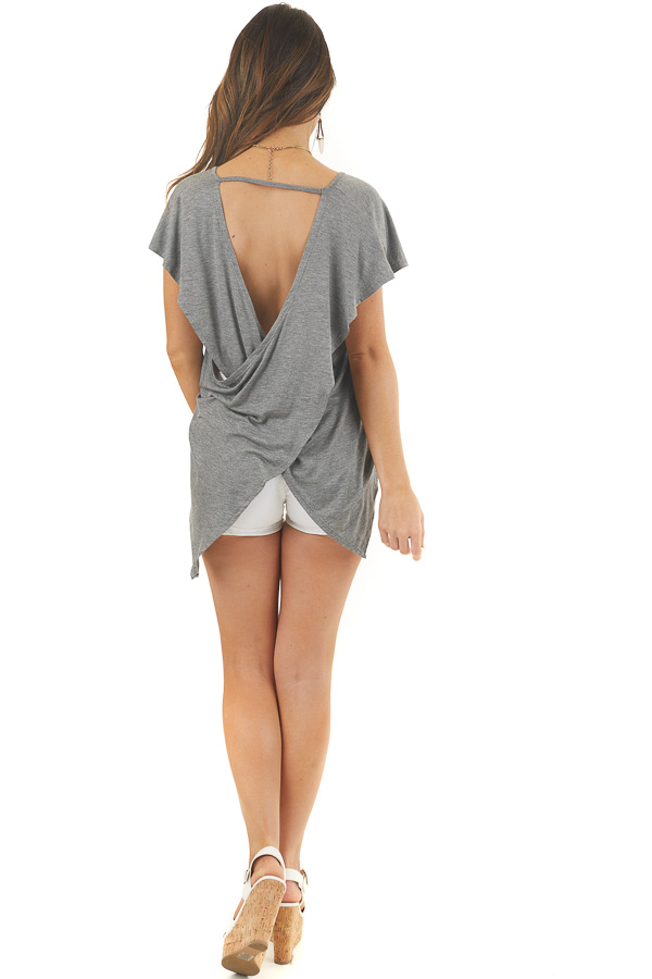 Stone Grey Short Sleeve Knit Top with Open Criss Cross Back back full body