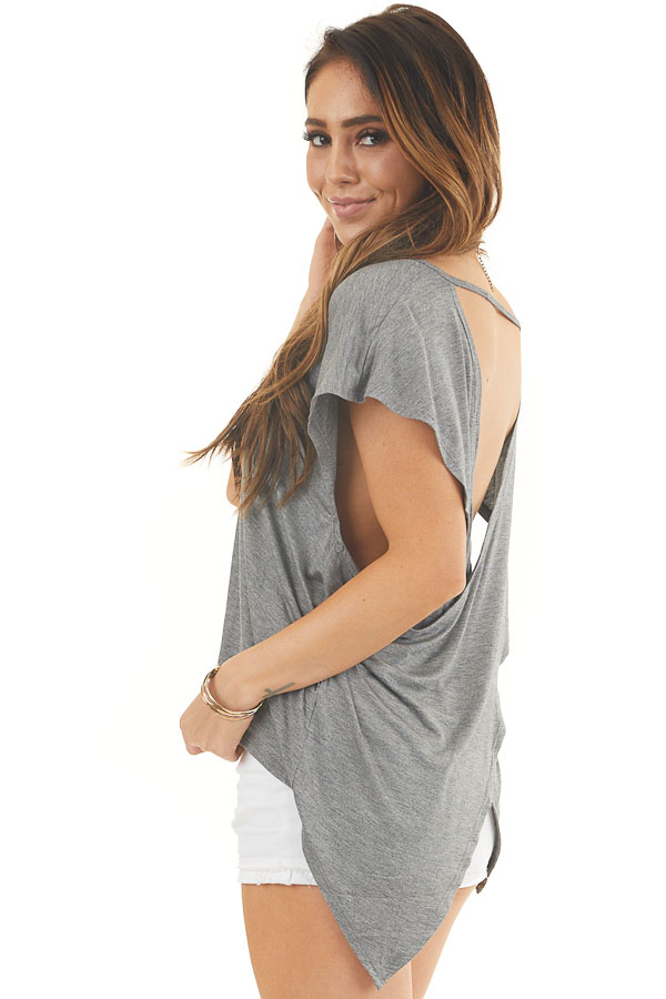 Stone Grey Short Sleeve Knit Top with Open Criss Cross Back back side close up