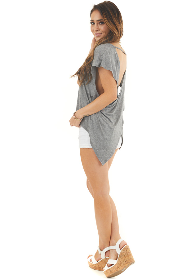 Stone Grey Short Sleeve Knit Top with Open Criss Cross Back side full body