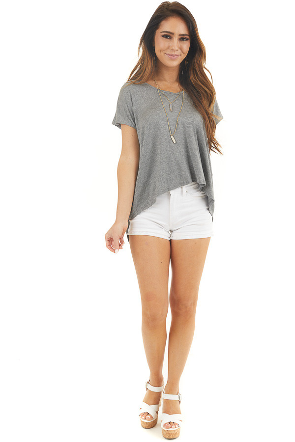 Stone Grey Short Sleeve Knit Top with Open Criss Cross Back front full body