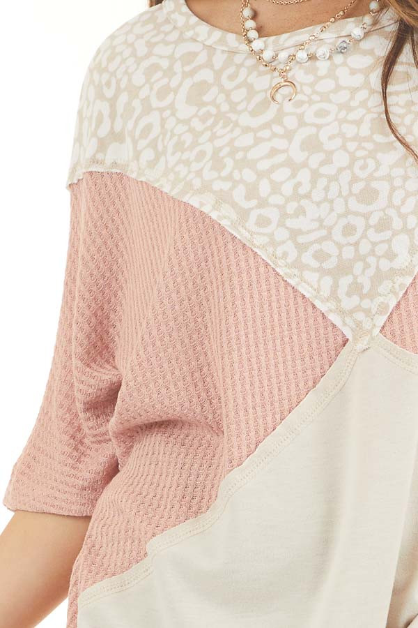 Dusty Blush and Leopard Print Waffle Knit Short Sleeve Top detail