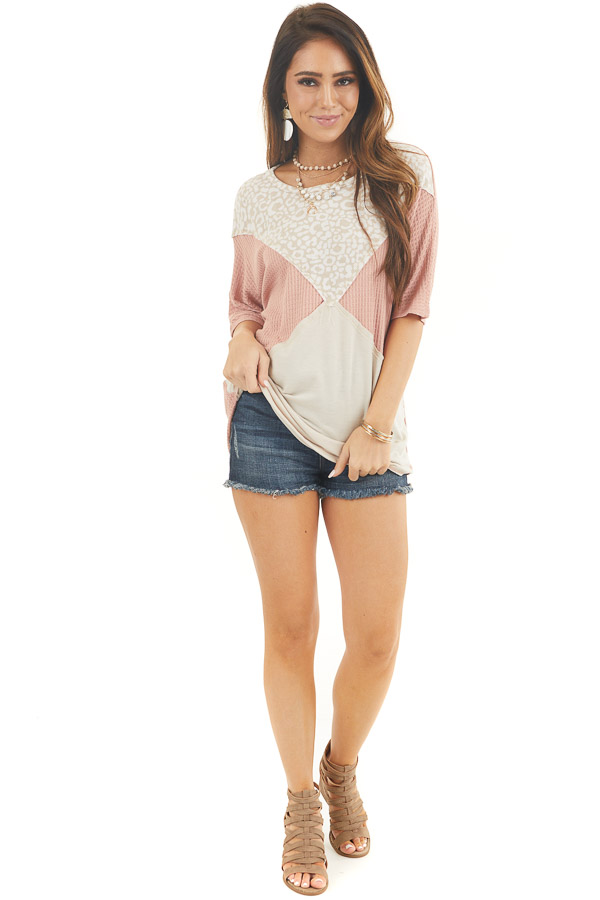 Dusty Blush and Leopard Print Waffle Knit Short Sleeve Top front full body