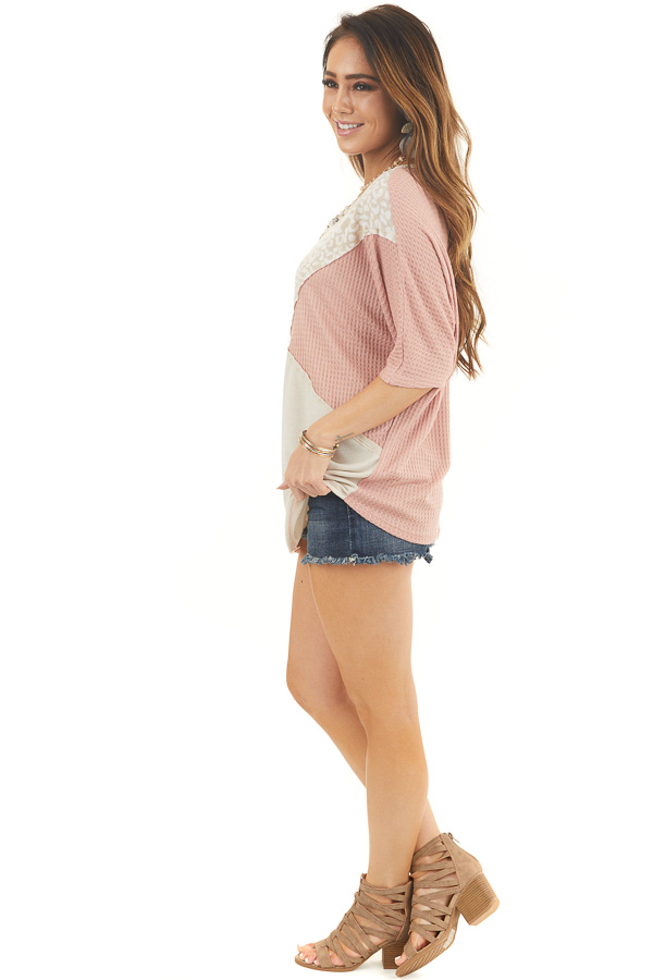 Dusty Blush and Leopard Print Waffle Knit Short Sleeve Top side full body
