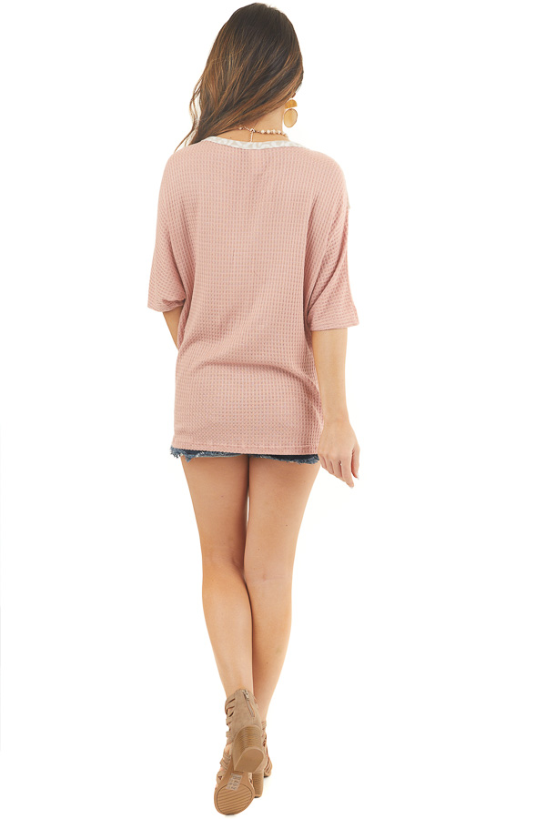 Dusty Blush and Leopard Print Waffle Knit Short Sleeve Top back full body