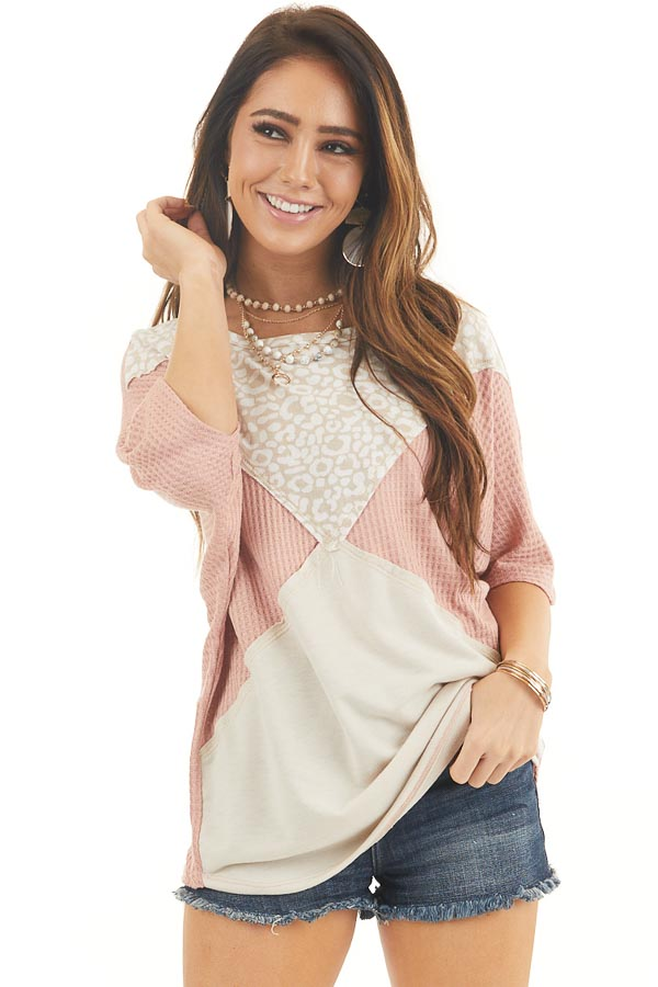 Dusty Blush and Leopard Print Waffle Knit Short Sleeve Top front close up