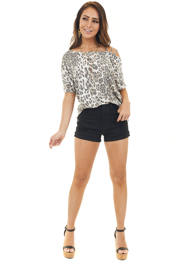 Ivory Leopard Print Strappy Knit Top with One Cold Shoulder