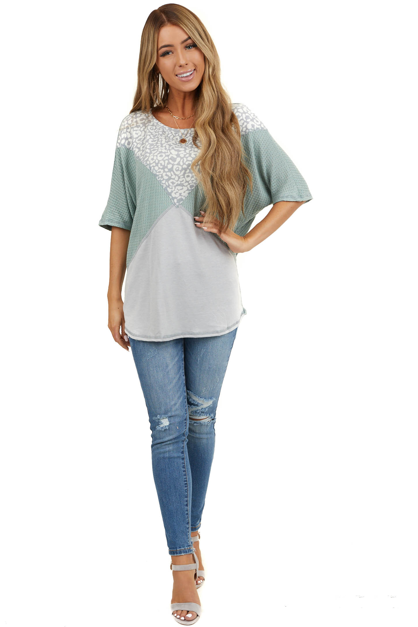 Sage and Leopard Print Waffle Knit Short Sleeve Top