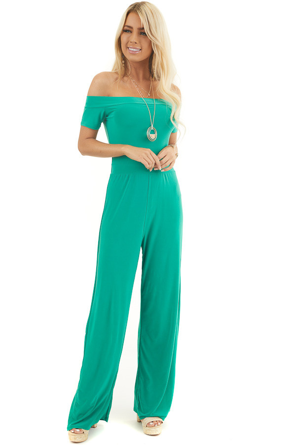 Kelly Green Off Shoulder Jumpsuit with Short Sleeves front full body