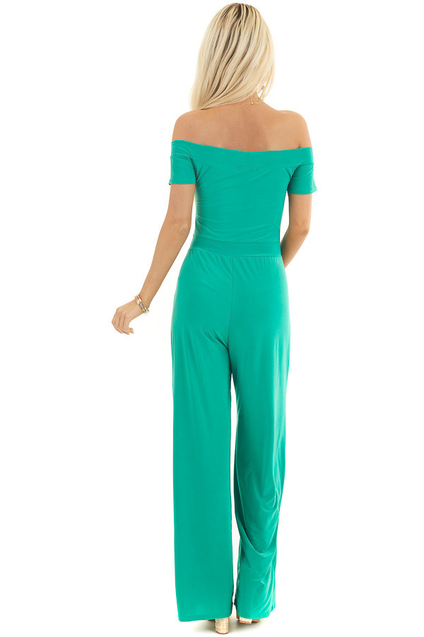 Kelly Green Off Shoulder Jumpsuit with Short Sleeves back full body