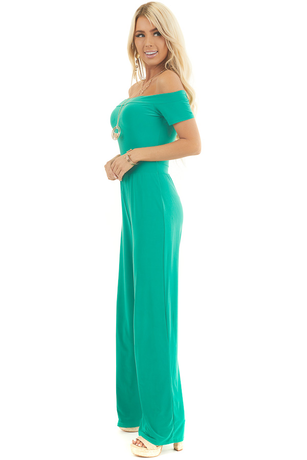 Kelly Green Off Shoulder Jumpsuit with Short Sleeves side full body