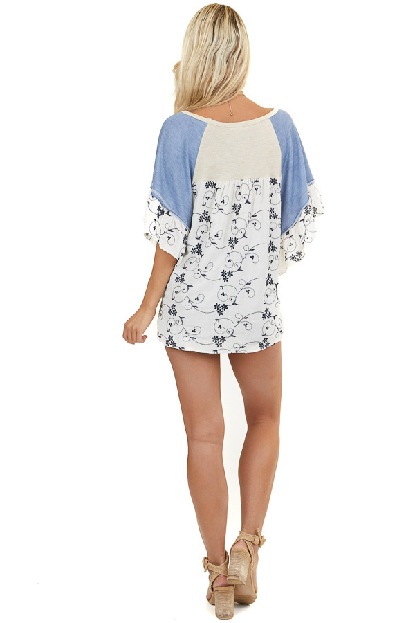Beige and Cornflower Blue Top with Floral Embroidery Details
