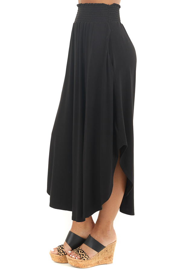 Black Maxi Skirt with Smocked Waist and Rounded Hemline side view