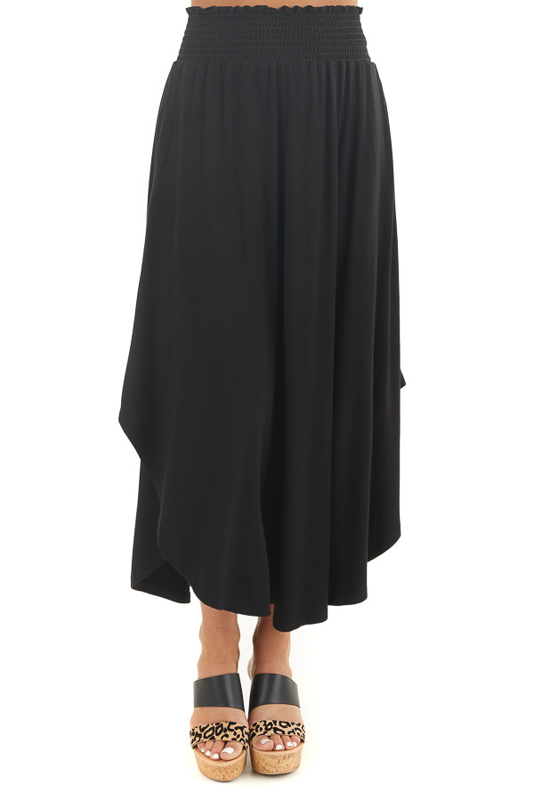 Black Maxi Skirt with Smocked Waist and Rounded Hemline front view