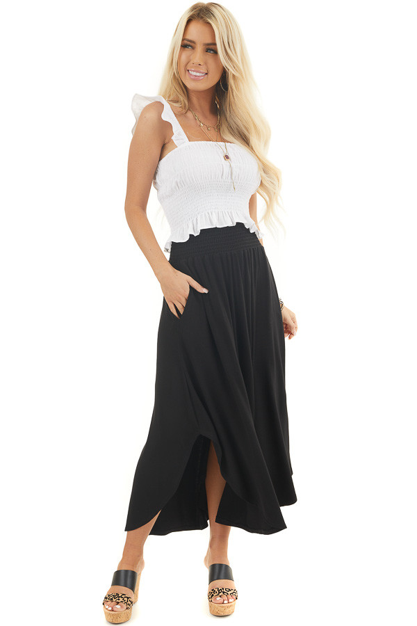 Black Maxi Skirt with Smocked Waist and Rounded Hemline front full body