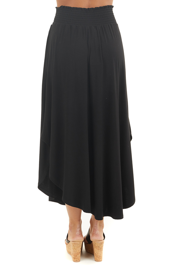 Black Maxi Skirt with Smocked Waist and Rounded Hemline back view