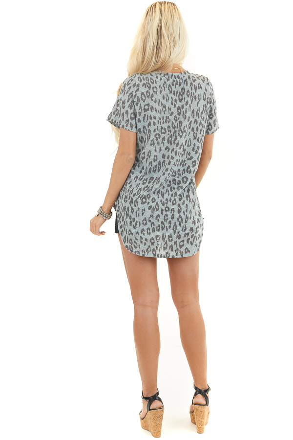 Dusty Blue and Black Leopard Print Short Sleeve Top back full body