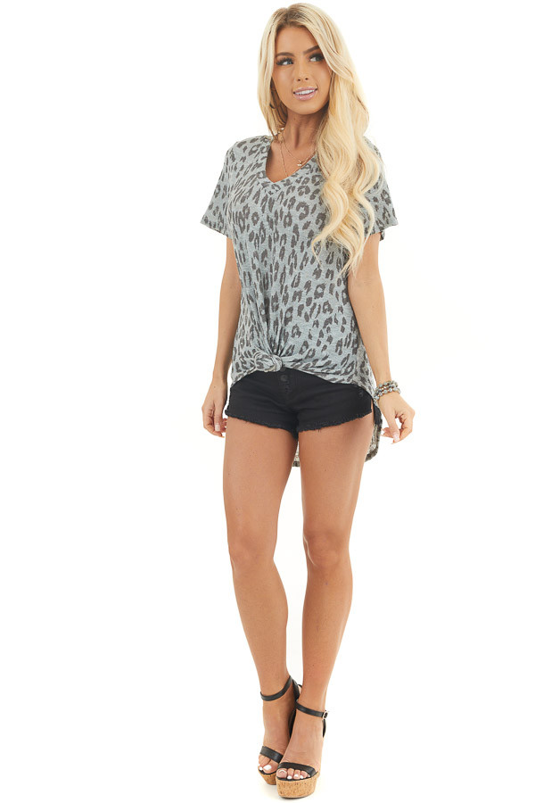 Dusty Blue and Black Leopard Print Short Sleeve Top front full body