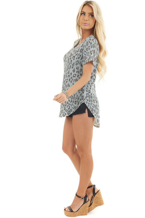 Dusty Blue and Black Leopard Print Short Sleeve Top side full body