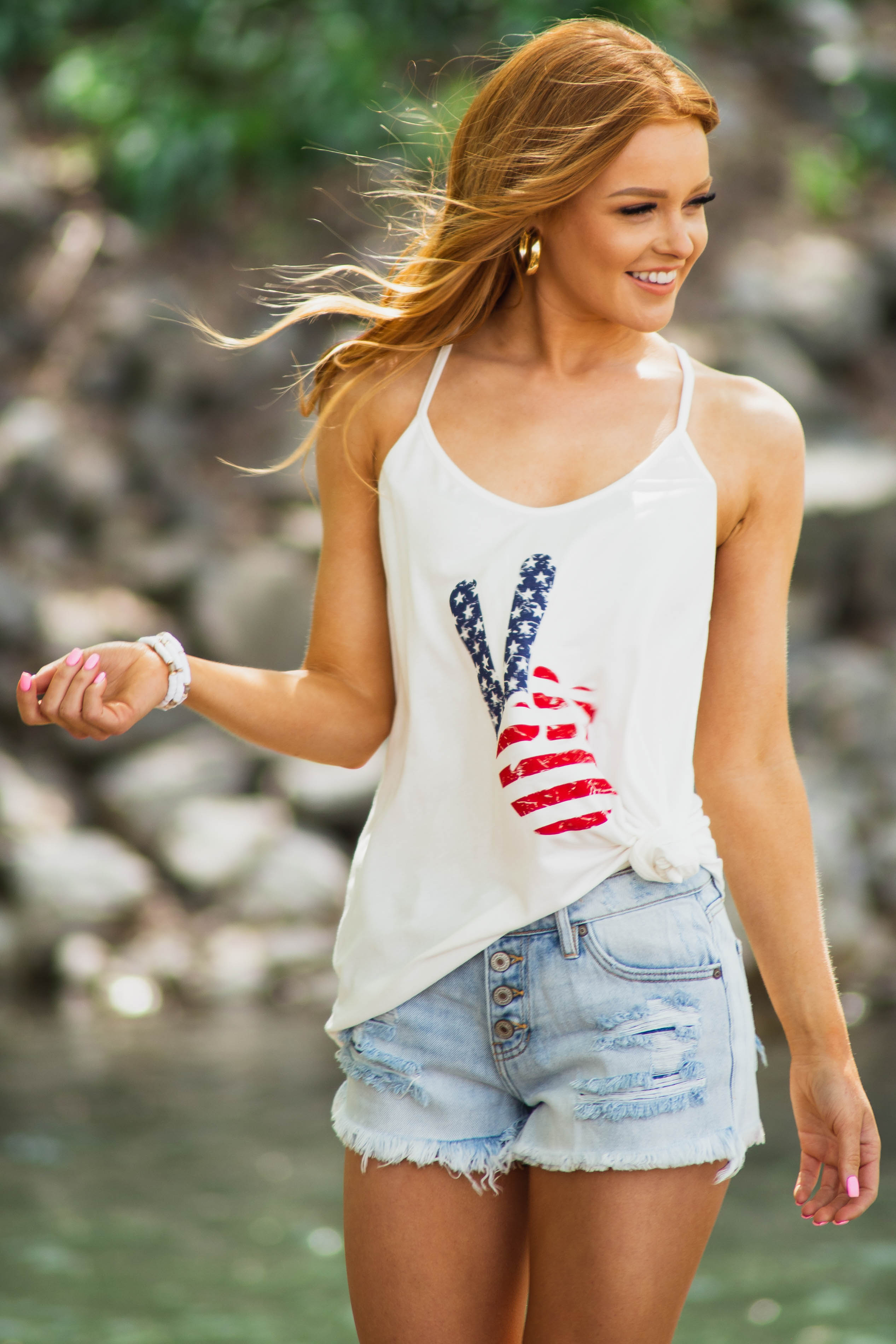 Ivory Racerback Tank Top with Patriotic Peace Sign Graphic