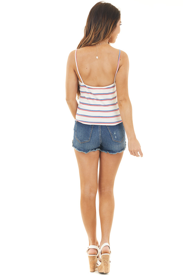 Ivory Striped Print Button Up Tank Top with Front Tie Detail back full body