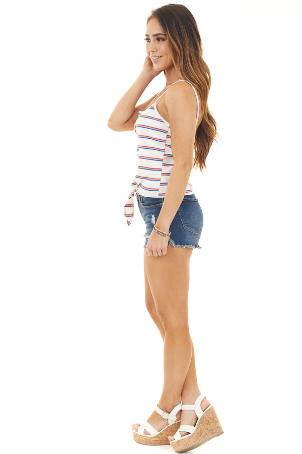 Ivory Striped Print Button Up Tank Top with Front Tie Detail side full body