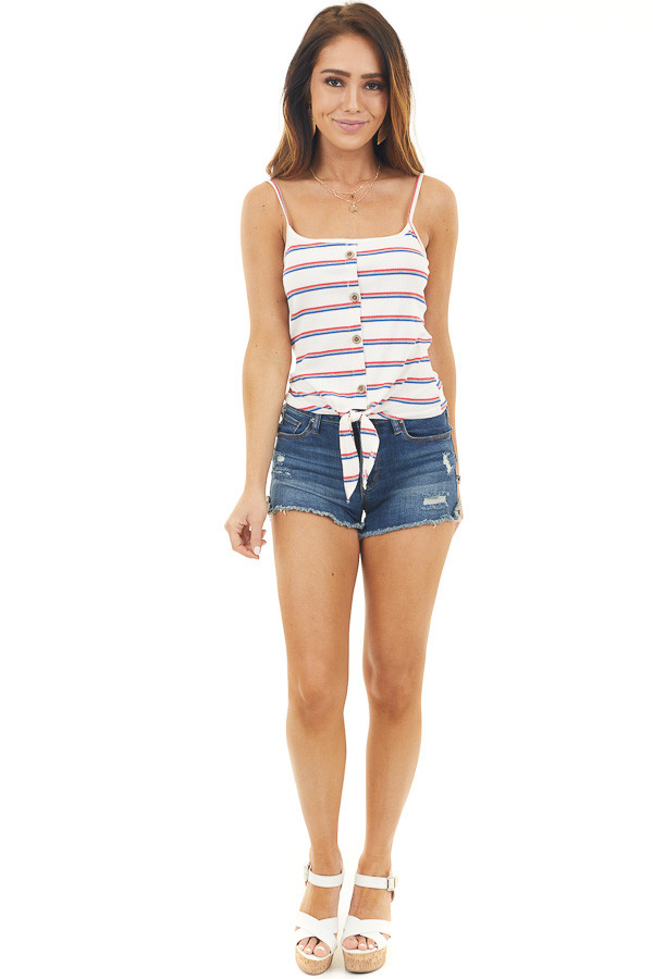 Ivory Striped Print Button Up Tank Top with Front Tie Detail front full body