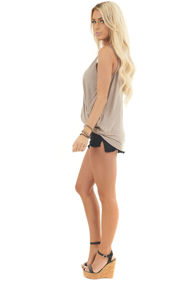 Latte Surplice Knit Tank Top with Twisted Front Detail